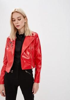 Куртка кожаная, Liu Jo, цвет: красный. Артикул: LI687EWBSPY2. Premium / Одежда / Верхняя одежда