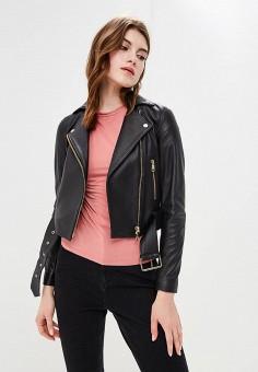 Куртка кожаная, Tommy Hilfiger, цвет: черный. Артикул: TO263EWBICT4. Одежда / Верхняя одежда
